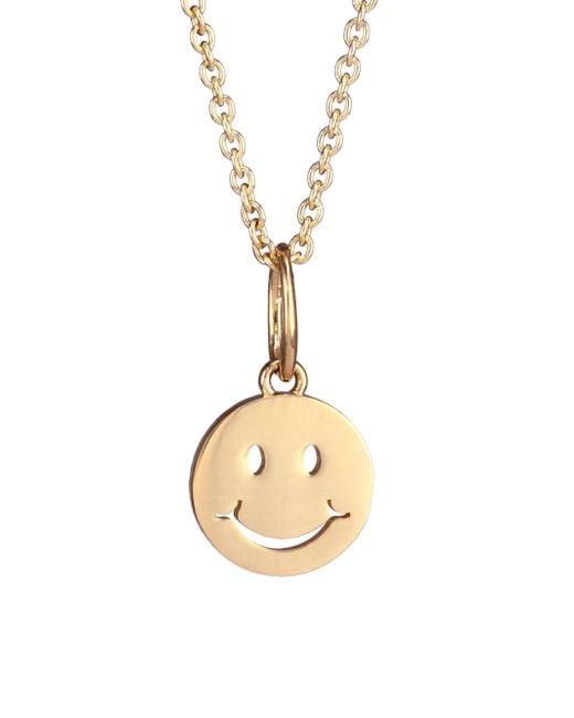 Sydney Evan - Metallic 14k Yellow Gold Happy Face Pendant Necklace - Lyst