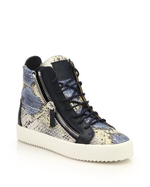 Giuseppe Zanotti | Multicolor Snake-embossed Leather High-top Zip Sneakers | Lyst