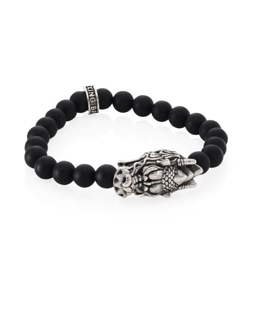 King Baby Studio - Black Sterling Silver Dragon's Head Lava Rock Bead Stretch Bracelet - Lyst