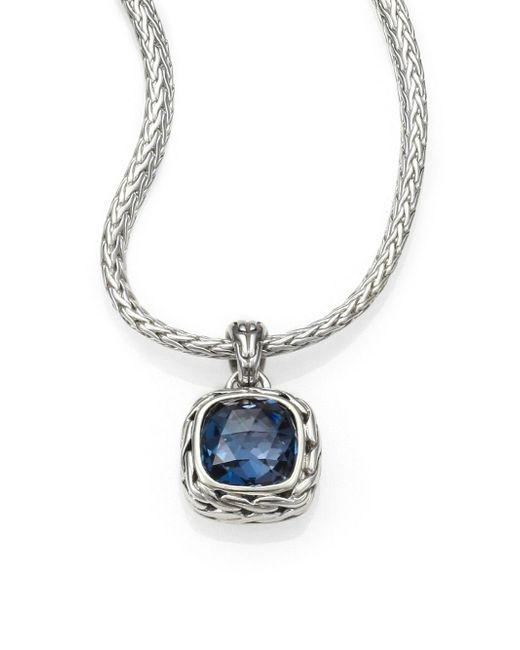 John Hardy | Blue Classic Chain Sterling Silver Small Square Pendant Necklace | Lyst