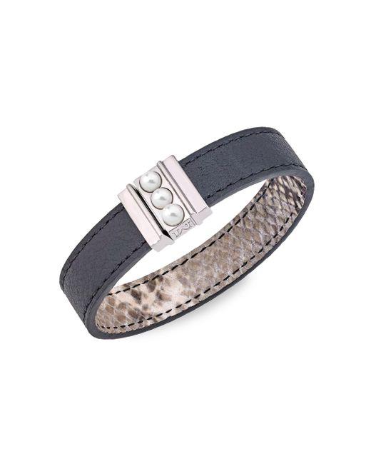 Majorica - Black Amazona 5mm Mabé Pearl Leather Magnetic Bracelet - Lyst