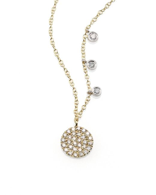 Meira T - Metallic Diamond & 14k Yellow Gold Disc Necklace - Lyst