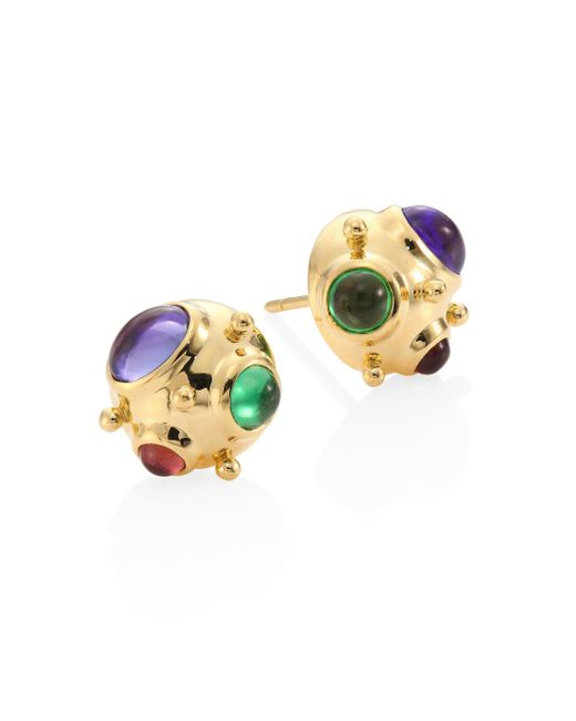 Temple St. Clair - Metallic Small Cosmos Semi-precious Multi-stone & 18k Yellow Gold Stud Earrings - Lyst