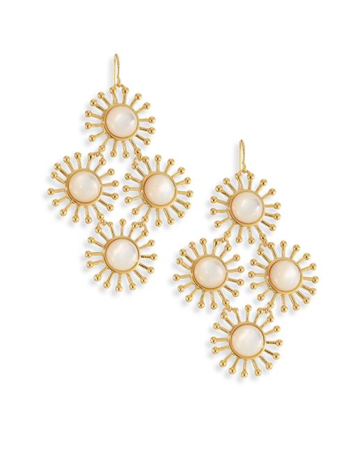 Nest - Metallic Starburst Mother-of-pearl Chandelier Earrings - Lyst