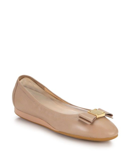 Cole Haan - Natural Tali Bow Leather Flats - Lyst