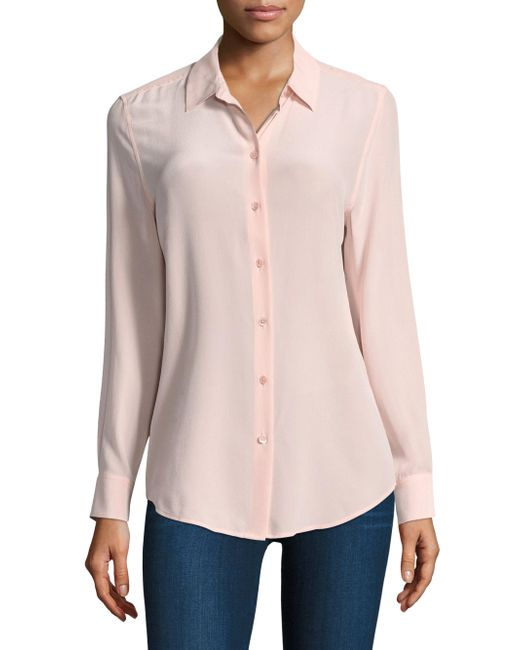 Equipment   Pink Long Sleeve Blouse   Lyst