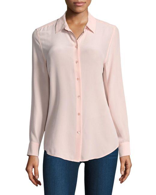 Equipment | Pink Long Sleeve Blouse | Lyst