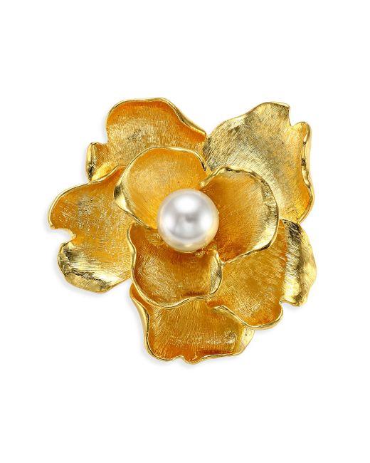 Kenneth Jay Lane - Multicolor Faux-pearl Flower Brooch - Lyst