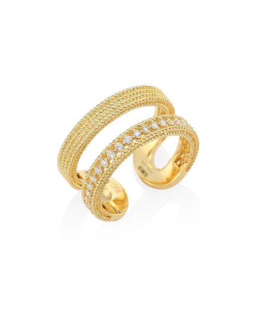 Roberto Coin | Metallic Double Symphony Diamond & 18k Yellow Gold Ring | Lyst