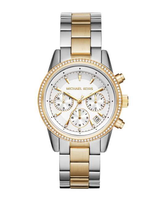Michael Kors - Metallic Ritz Two-tone Stainless Steel Chronograph Bracelet Watch - Lyst