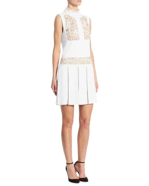 Elie Saab | White Lace-inset Pleated Day Dress | Lyst