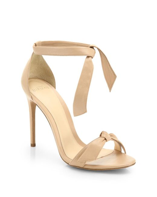 Alexandre Birman - Natural Clarita Leather Ankle-tie Sandals - Lyst