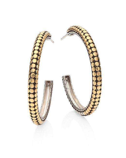John Hardy - Metallic Dot 18k Yellow Gold & Sterling Silver Hoop Earrings/1.4 - Lyst