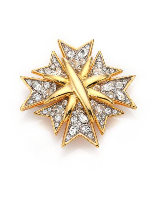 Kenneth Jay Lane - Metallic Multi Cross Crystal & 22k Golplated Pin - Lyst