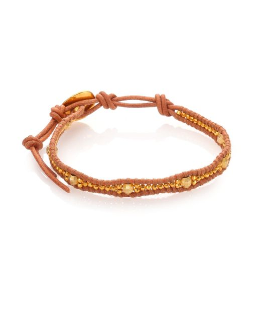 Chan Luu | Metallic Beaded Leather Wrap Bracelet | Lyst
