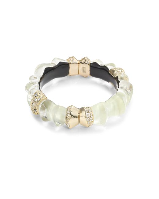 Alexis Bittar | White Lucite Crystal-encrusted Sculptural Hinge Bangle | Lyst