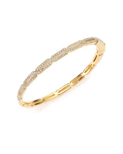 Adriana Orsini - Metallic Pavé Crystal Long Hexagon Bangle Bracelet/goldtone - Lyst