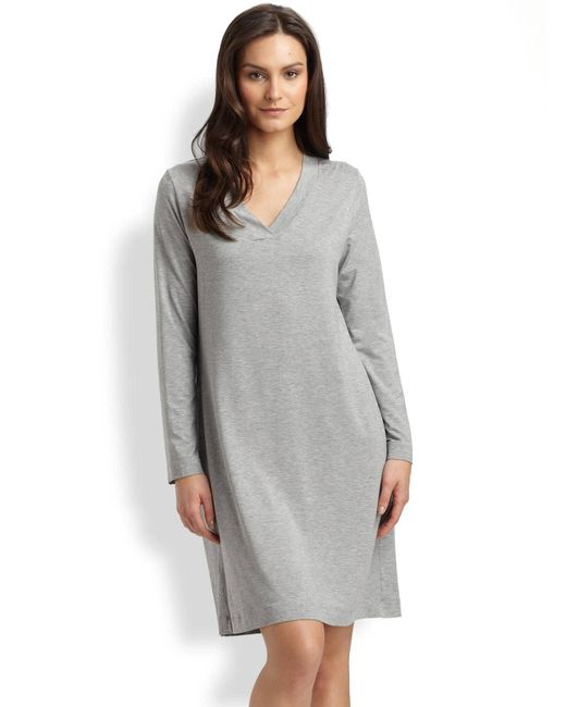 Hanro - Gray Champagne Long Sleeve Sleep Dress - Lyst