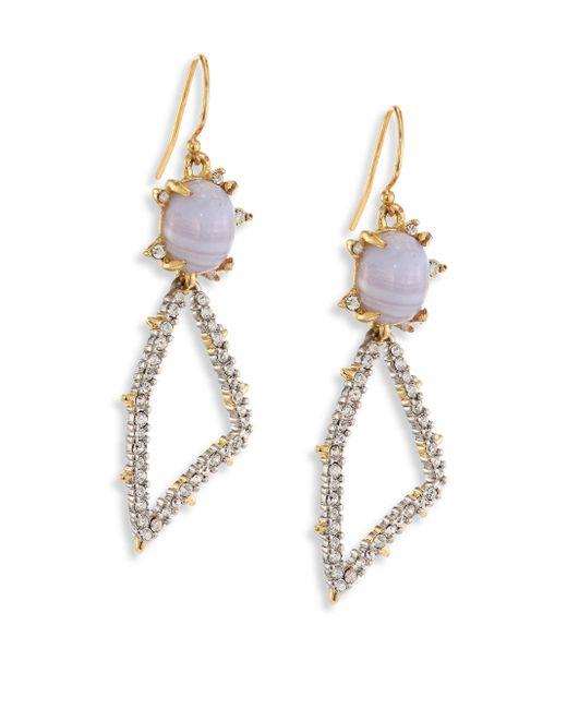 Alexis Bittar - Metallic Elements Blue Lace Agate & Crystal Geometric Drop Earrings - Lyst