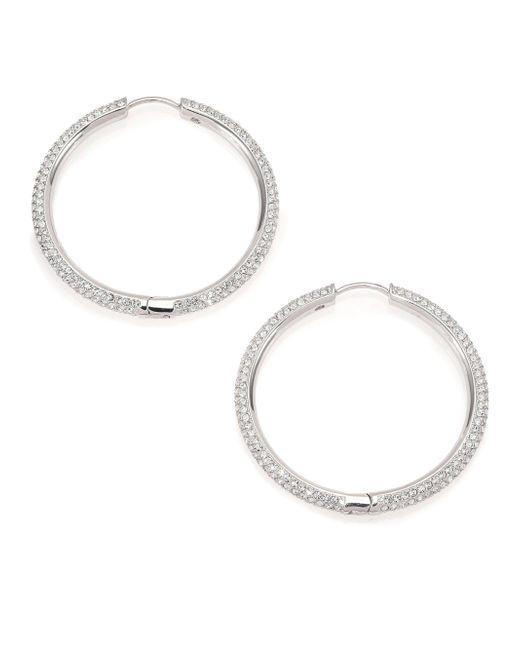 Adriana Orsini - Metallic Pave Hoop Earrings/1.4 - Lyst