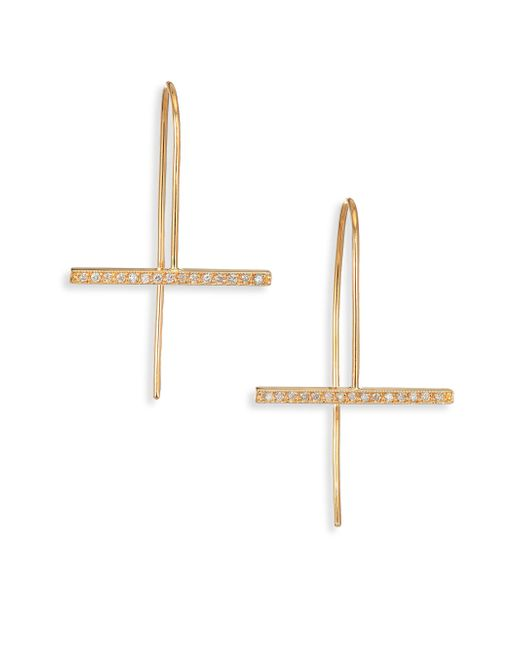 Zoe Chicco | Metallic Pave Diamond & 14k Yellow Gold Horizontal Bar Drop Earrings | Lyst