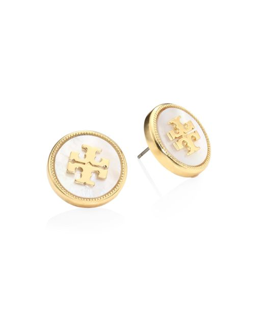 Tory Burch | Metallic Mother-of-pearl Logo Stud Earrings | Lyst