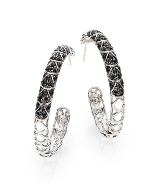 John Hardy | Metallic Naga Black Sapphire & Sterling Silver Cutout Lava Hoop Earrings/1.3 | Lyst