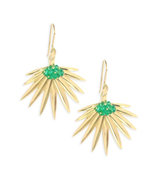 Annette Ferdinandsen - Metallic Emerald 18k Gold Fan Palm Earrings - Lyst