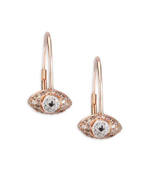 Sydney Evan - Multicolor Multi-tone Diamond Eye Drop Earrings - Lyst