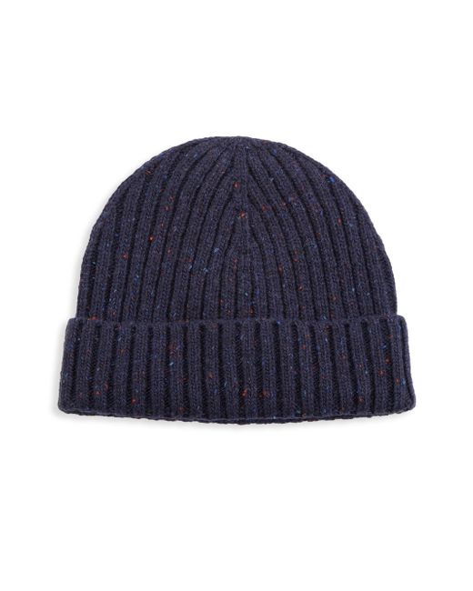 Saks Fifth Avenue - Blue Modern Donegal Ribbed Beanie for Men - Lyst