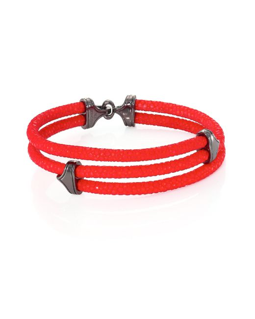 Stinghd | Red Blackened Silver & Stingray Triangle Wrap Bracelet for Men | Lyst