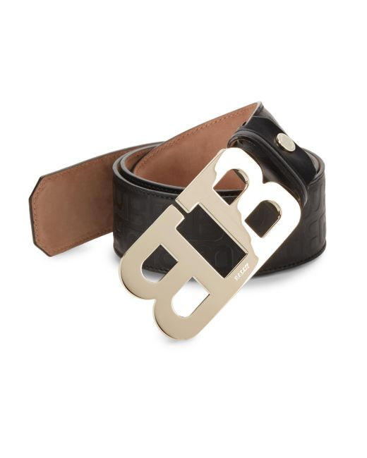 Bally - Black Mirror B Leather Belt - Lyst