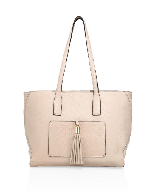 MILLY | Natural Astor Large Pebble Leather Tote | Lyst