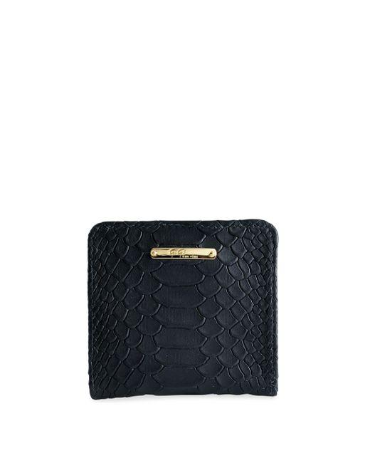 Gigi New York - Black Mini Python-embossed Leather Bi-fold Wallet - Lyst