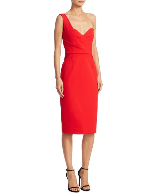 Nicholas | Red One-shoulder Tuck Dress | Lyst