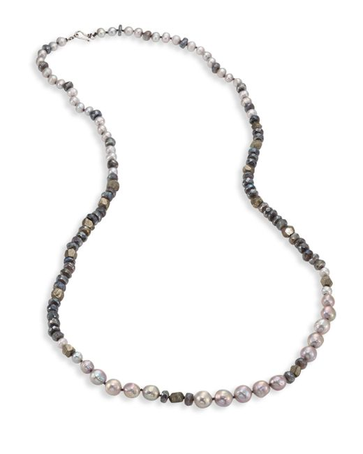 Chan Luu | Gray 6-10mm Pearl, Pyrite & Mystic Lab Strand Necklace | Lyst