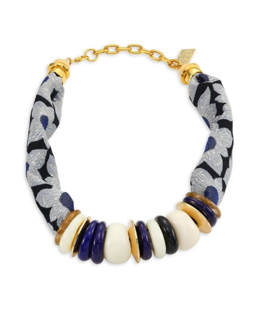 Lizzie Fortunato | Blue Floral Kanga Necklace | Lyst