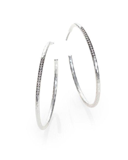 Ippolita | Metallic Stella Diamond & Sterling Silver #3 Hoop Earrings/1.6 | Lyst