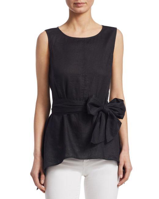 Saks Fifth Avenue - Black Collection Tie Front Blouse - Lyst