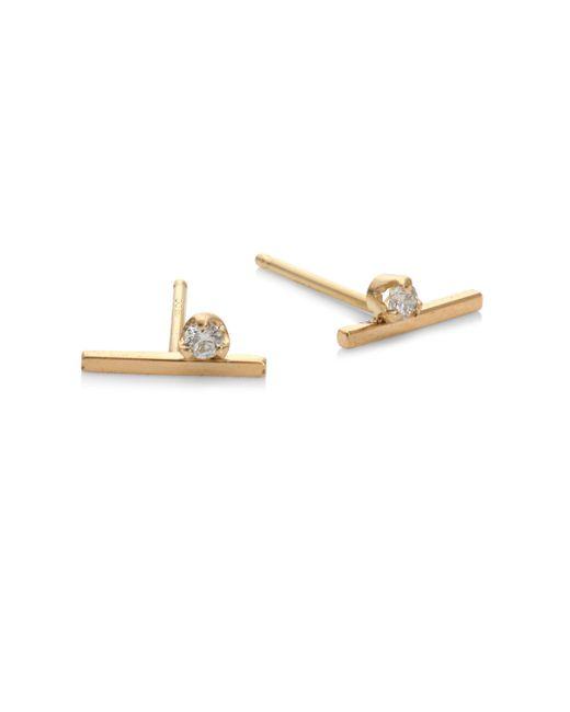 Zoe Chicco - Metallic Diamond & 14k Yellow Gold Stud Earrings - Lyst