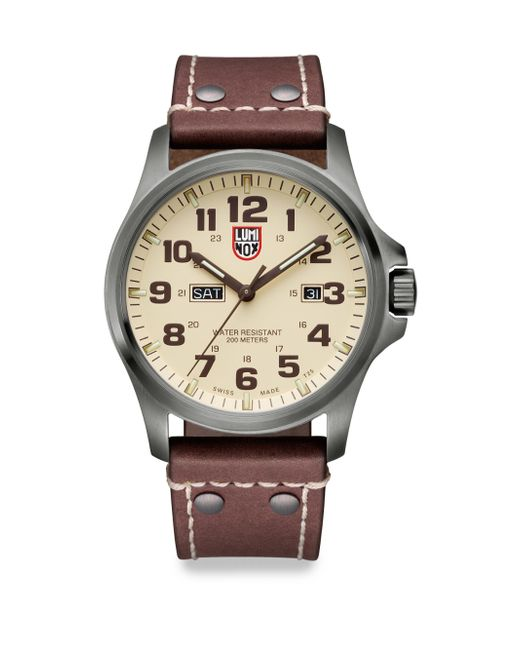 Luminox | Brown Illuminated 24/7 Collection Leather-strap Watch for Men | Lyst