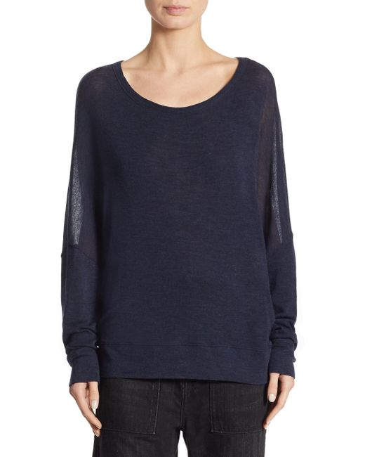 Vince   Blue Drop Shoulder Wool Sweater   Lyst