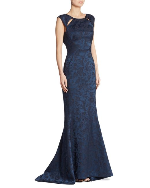 Zac Posen - Blue Floral Printed Gown - Lyst
