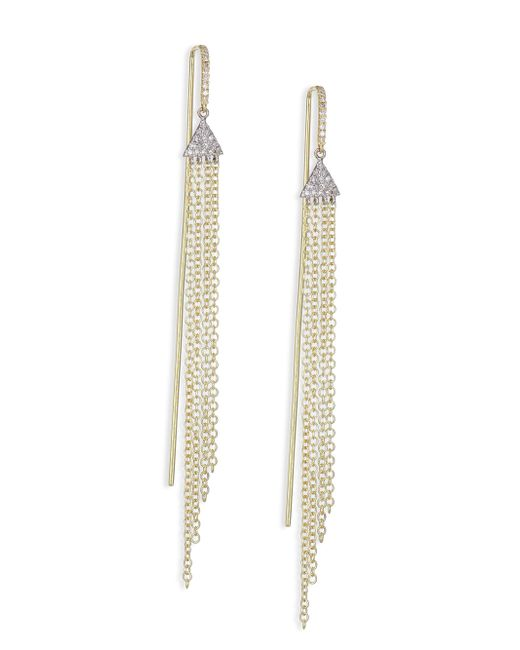 Meira T - Metallic Diamond, 14k White & Yellow Gold Fringed Drop Earrings - Lyst