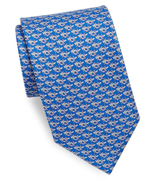 Ferragamo | Blue Fox With Horseshoe Silk Necktie for Men | Lyst