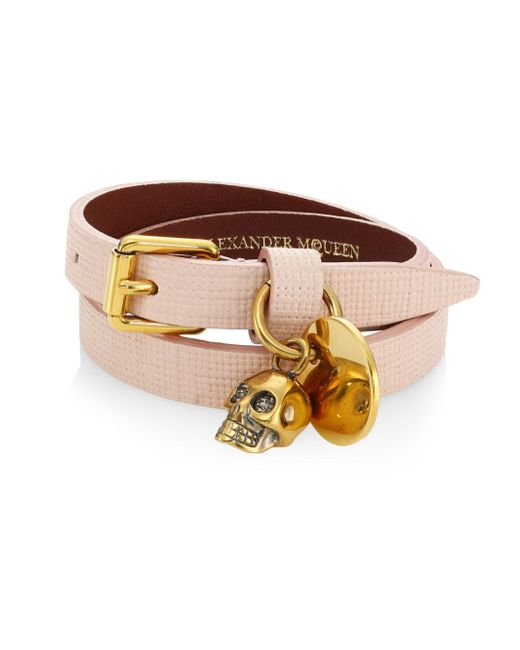 Alexander McQueen | Multicolor Skull Charm Double-wrap Leather Bracelet | Lyst