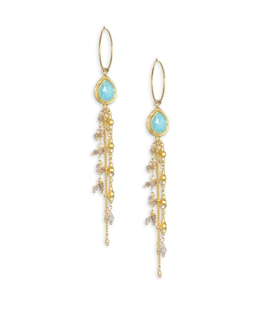 Chan Luu - Metallic Amazonite, Mystic Labradorite & Sterling Silver Drop Hoop Earrings - Lyst
