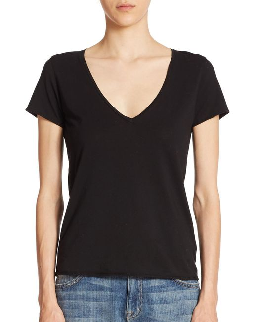 Feel The Piece - Black Noemie Cotton V-neck Tee - Lyst