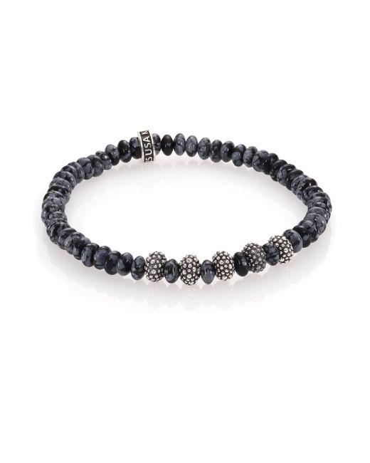 King Baby Studio - Metallic Snowflake Agate & Sterling Silver Bracelet - Lyst