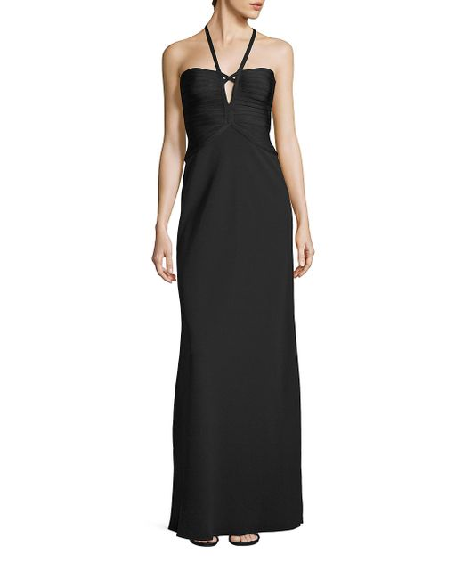 Hervé Léger   Black Solid Halter Gown   Lyst